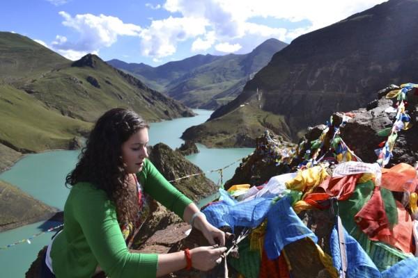 Turquoise Lake prayer flags Tibet