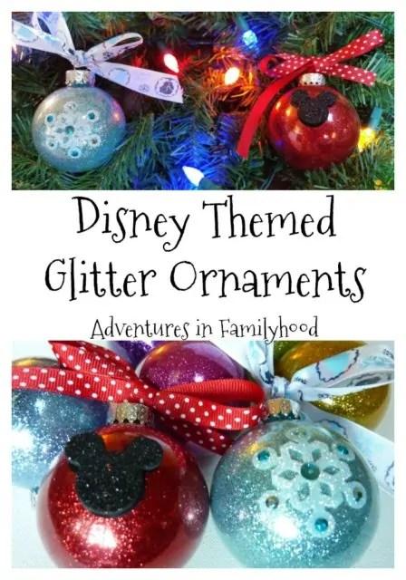 Disney Themed Glitter Ornaments | Disney DIY and Crafts