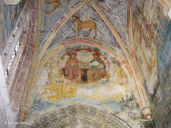 Sixteenth century frescoes on the ceiling of one of the side chapels.