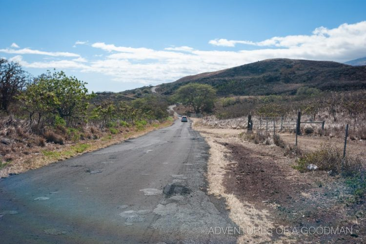 Driving alongside the Haleakala Volcano in Maui, Hawaii