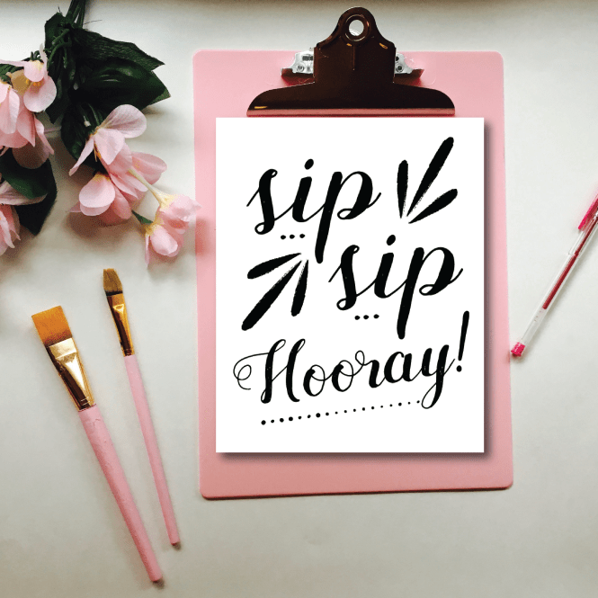 Sip Sip Hooray! Perfect printable for your New Years drink table or bar!