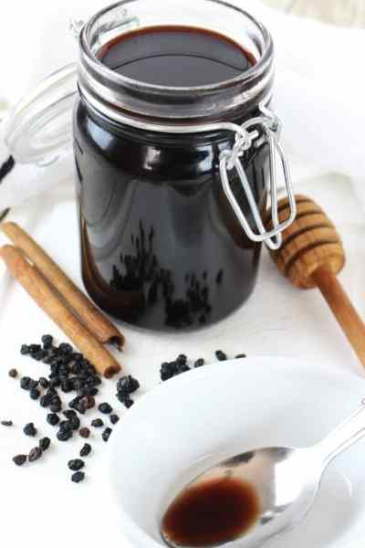 Instant Pot Elderberry Syrup in a Mason jar