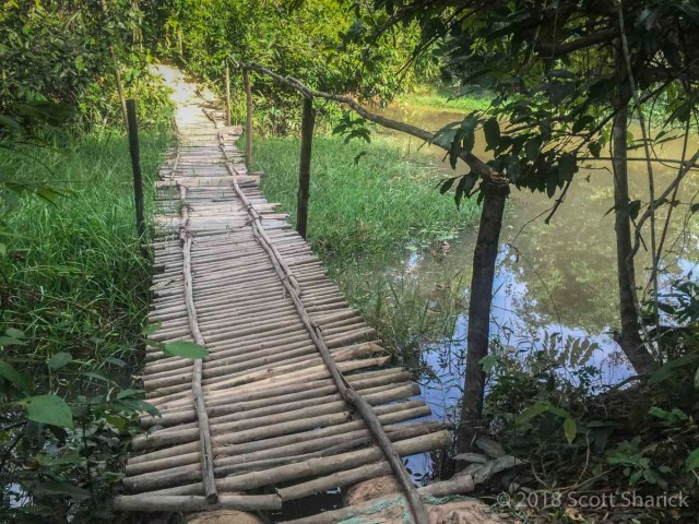 Shaky bridge along the roads in Cambodia.