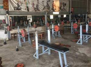 Sokha Gym working out in Cambodia