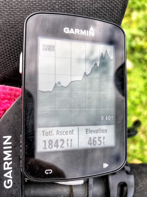 My bicycle computer shows a graphic representation of part of the ride up the mountains on my around the world bicycle ride.