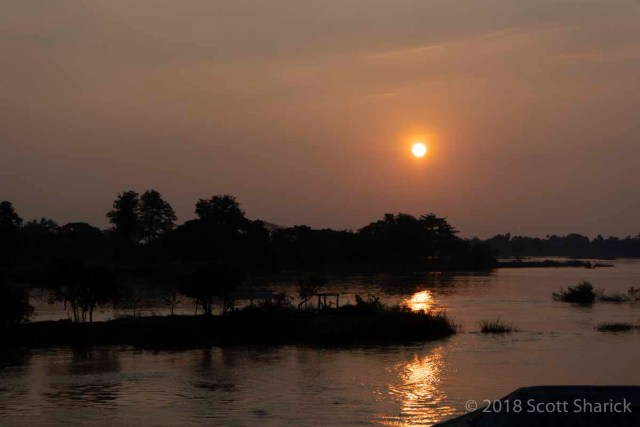 The setting sun over the Mekong River in Don Det, 4,000 Islands, Laos