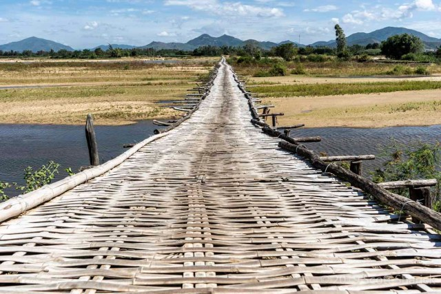 This bamboo bridge caused two flat tires in one day!