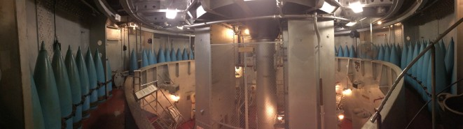 Panoramic view inside the USS North Carolina in Wilmington, NC.