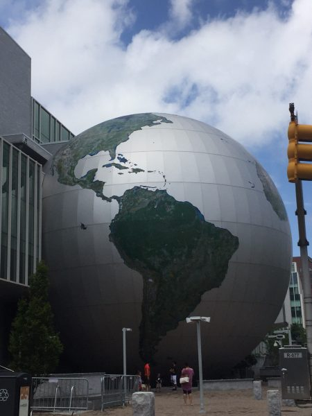 globe outside the museum of natural sciences. A free attraction in Raleigh, NC. Find out more budget friendly attractions here.