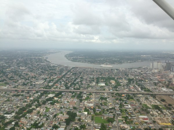Aerial view of the Mississippi in New Orleans