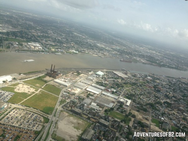 view of the mississippi river from an aerial tour of new orleans