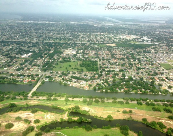 view of outer lying cities next to New Orleans during an aerial tour