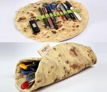 Always dreaming about food, be the most fashionable kid in school with a pita bread pencil holder. For more unique gift ideas, go to adventuresofb2.com