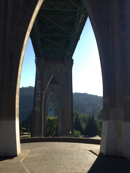 Underneath St. John's Bridge in portland oregon provides stunning views of the mountains. Just hang out and chill in the park or walk along the paths to enjoy the scenery all around.
