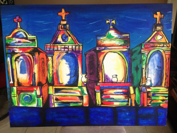 Colorful New Orleans cemetery by EatLiveLoveNOLA. A vibrant cemetery painting to capture the essence of New Orleans
