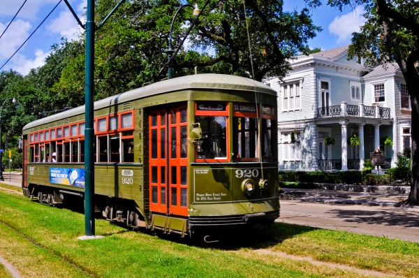 One of the streetcars in New Orleans that offers transportation through the city. Perfect idea to sight see as you ride to your date in town.