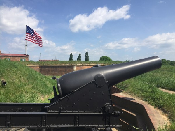 Fort McHenry with the cannon and American flag in Maryland.