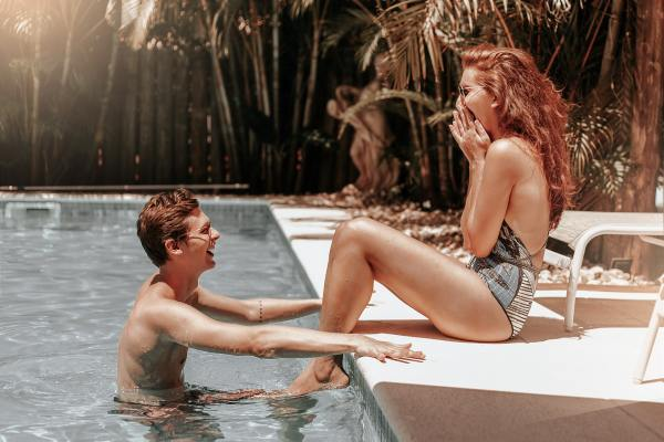 Swimming in the pool can be a fun way to cool off during the summer making this a perfect date idea!