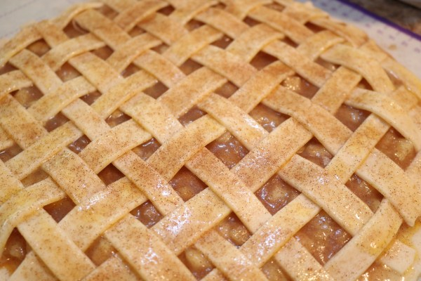 Finished lattice work for apple pie cookies! Ready to be baked into mini apple pie cookies.