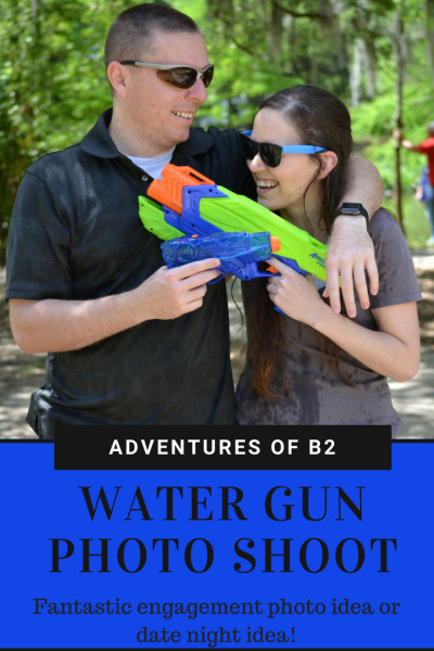 Fantastic engagement photo idea for any fun couple or married couple to enjoy! Can you tell me had a blast shooting water guns at each other?