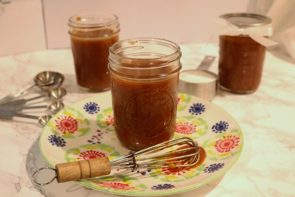 Homemade salted caramel sauce is so delicious and so easy to make. Just four ingredients to make this heavenly treat.