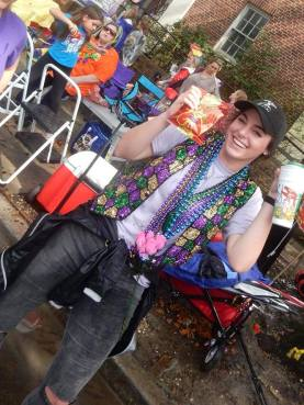 Just a girl and her cheetos. The excitement is real down here in New Orleans during Mardi Gras! Learn how to survive your first Mardi Gras at adventuresofb2.com