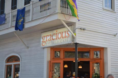 Gracious bakery is one of the best spots to stop on St. Charles during Mardi gras to get yourself a warm meal or drink. check out other great places to eat at on the parade route here- Adventuresofb2.com
