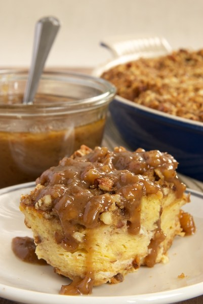 praline bread pudding with caramel pecan sauce from bake or break