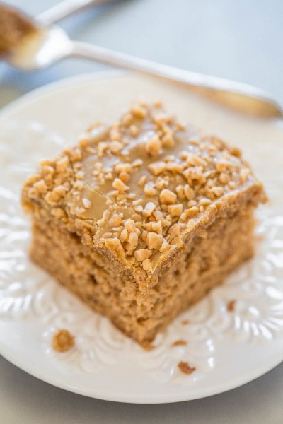 toffee spice cake with brown sugar frosting from Averie Cooks