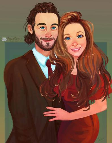 Custom digital portraits are all the craze and make the perfect gift for any couple or parent! Finasusu an etsy shop provides one of a kind digital portraits. You can even include your pets in your portrait.