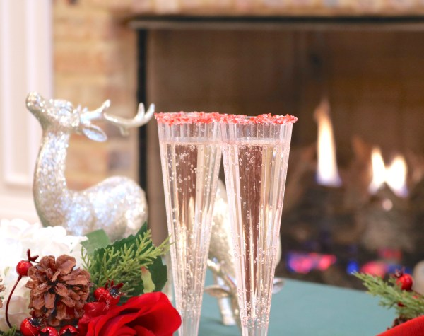 Peppermint spritzer is a light bubbly cocktail perfect for enjoying by the fireplace at your next Christmas function.