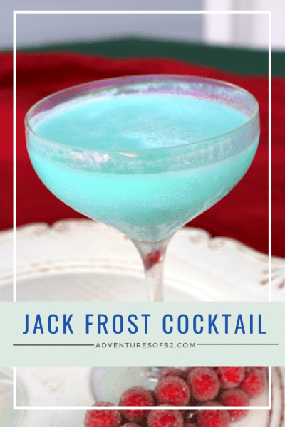 Jack frost cocktail is the perfect way to bring in the new year! A bright tropical drink filled with rum, creme de cacao, pineapple juice, cream of coconut and blue curaçao for the bright color and flavor! Surprise your party guests at your next holiday celebration! #holidaycocktails #christmasdrinks #cocktails #winter