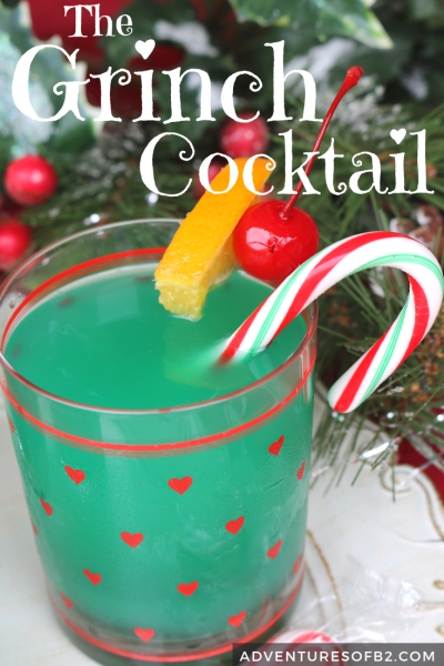 the grinch cocktail is delicious and fun alcoholic drink inspired by the grinch movie! Serve to friends and family at your next Christmas party to spread some holiday cheer! #christmasdrinks #holidaycocktails #drinkrecipe #grinch