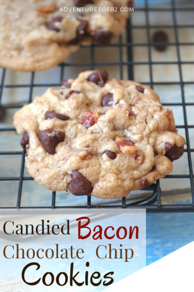 Candied Bacon Chocolate Chip Cookies- Candied Bacon Chocolate Chip Cookies are all your favorites in one cookie. A soft chewy cookie with bits of smoky bacon and sweet chocolate chips. A nice balance of salty and sweet in every bite! - AdventuresofB2.com #cookierecipe #bacon #chocolate #baconlovers