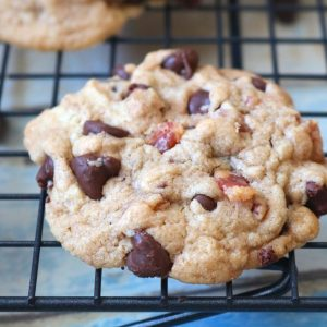 A delicious soft chewy cookie with candied bacon. A delightful combination of sweet and salty with the bacon and chocolate flavor. - Adventuresofb2.com