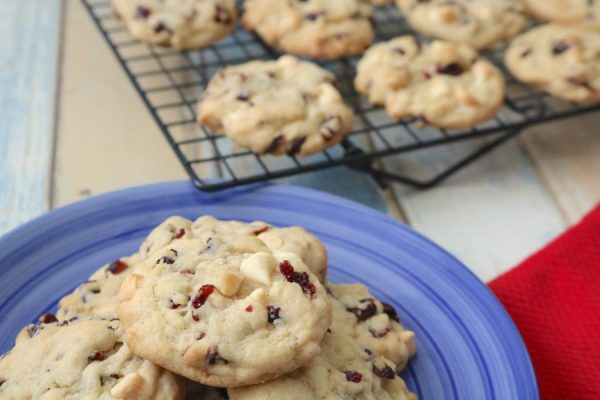 A soft, chewy, easy to make cookie. White chocolate cranberry cookies are a delicious combination or tart with sweet. - Adventuresofb2.com