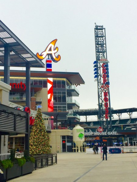 The outside of the Atlanta Braves stadium with the terrapin taproom in Atlanta Georgia. A must when visiting Atlanta Georgia! See other great ideas at Adventuresofb2.com