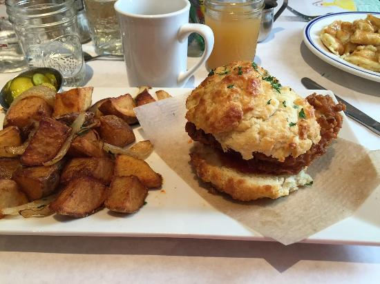 Grab a delicious southern breakfast at buttermilk kitchen. With things like chicken biscuits, you really can't go wrong! For more great places to eat in atlanta, visit adventuresofb2.com