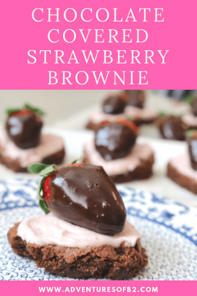Who can resist this pretty heart shaped dessert? Chocolate and strawberries are delicious by themselves but add a fudge brownie and strawberry buttercream and you've reach heaven! A fantastic dessert for two to romance your partner with! - Adventuresofb2.com #chocolate #dessert #strawberry #dessertfortwo #romance #valentinesday #brownies