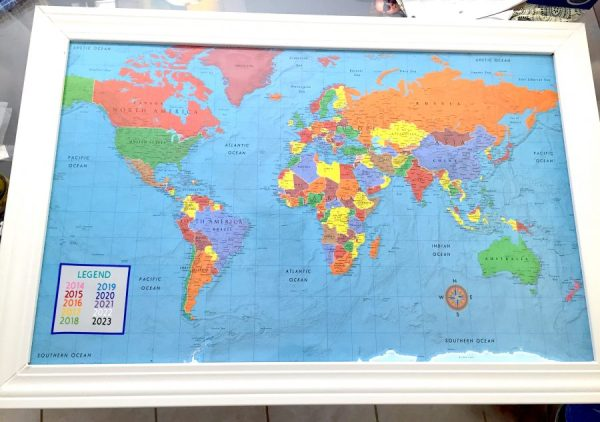 Once you frame has set, you can now begin painting your frame! Feel free to choose any color to go with your travel map. -adventuresofb2.com