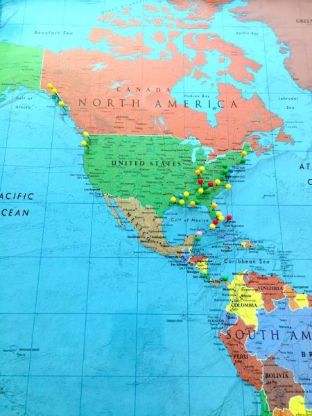 a place to remember all your different travel memories in one place. This DIY travel map is easy to make and allows you to track the endless memories made over the years through travel. -adventuresofb2.com