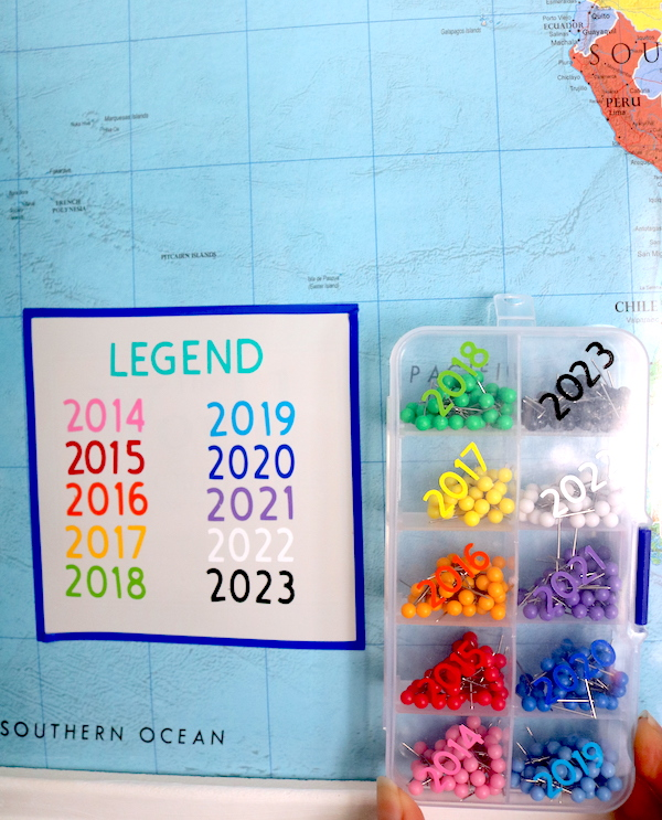While making your own DIY push pin world travel map, you can make your own legend and color code your adventures. Color coding makes it easier to remember how many grand vacations you had in one year! - adventuresofb2.com