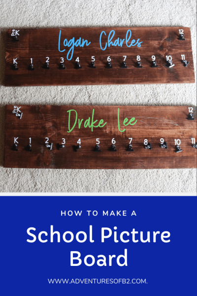 Showcase all your child's school pictures over the years from pre school to senior year. Make your own wooden school photo picture board so you can cherish your kid's memories every time you look at all the photos on your wall. #diy #howto #homedecor #schoolpicture #memories - adventuresofb2.com
