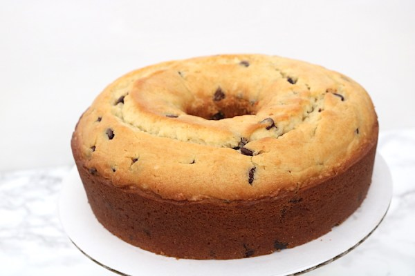 a rich dense chocolate chip pound cake.