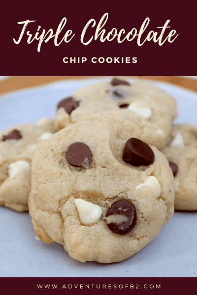 Triple Chocolate Chip Cookies are every chocolate lovers dream. Packed with milk chocolate, dark chocolate and white chocolate chips for the ultimate chocolate chip cookies to satisfy all your cravings! - adventuresofb2.com #cookierecipe #chocolate #dessert