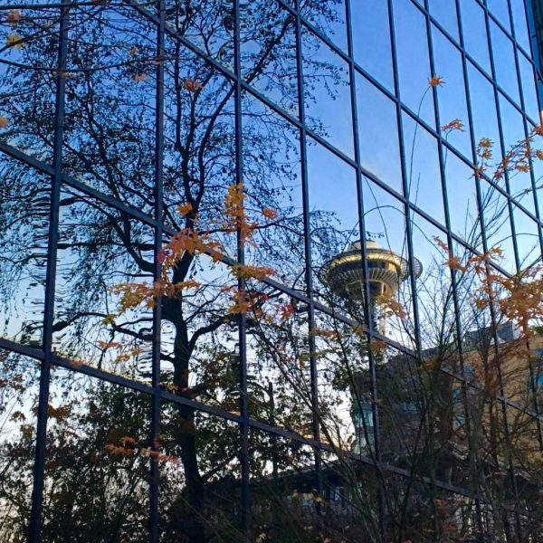 reflection of the Space Needle
