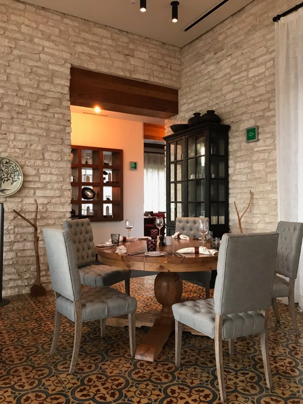 A dining table in the dining room of Casa Amate at the Andaz Mayakoba Resort.
