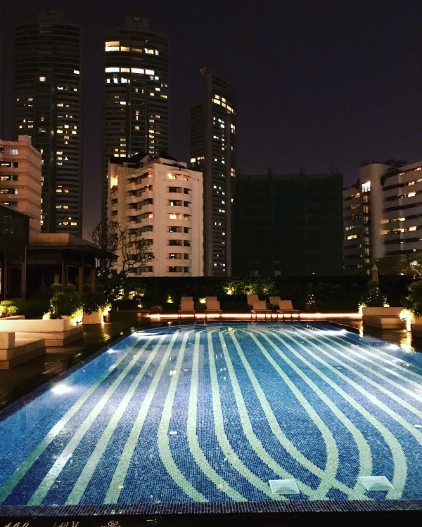 The gorgeous turquoise pool of the Marriott Marquis is one of the Ten reasons to visit Thailand.
