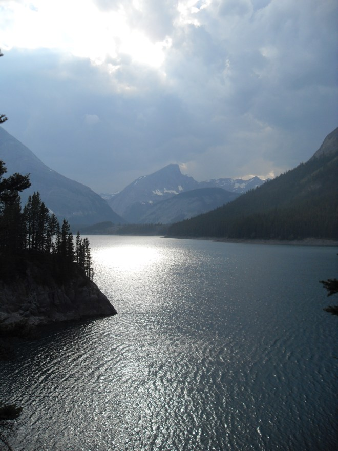 This photo of a portion of Upper Kananaskis Lake was taken on 7-17-14, the evening before Lupe's adventures on the Maude-Lawson Trail.