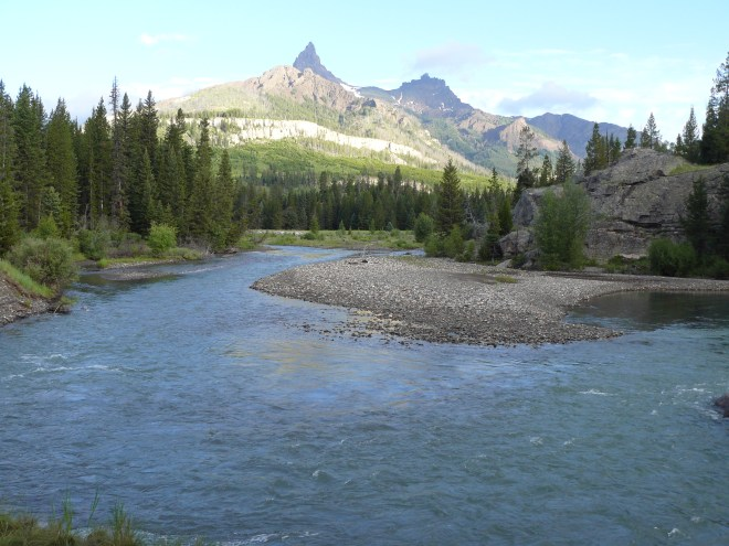 View of Pilot (L) and Index (R) Peaks from Lupe's favorite camping spot on the Clark's Fork of the Yellowstone River